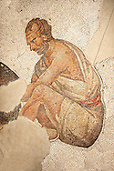 6th century Byzantine Roman mosaics of a man from the peristyle of the Great Palace from the reign of Emperor Justinian I. Istanbul, Turkey. .<br /> <br /> If you prefer to buy from our ALAMY PHOTO LIBRARY  Collection visit : https://www.alamy.com/portfolio/paul-williams-funkystock/great-palace-mosaic-istanbul.html<br /> <br /> Visit our ROMAN MOSAIC PHOTO COLLECTIONS for more photos to download  as wall art prints https://funkystock.photoshelter.com/gallery-collection/Roman-Mosaics-Art-Pictures-Images/C0000LcfNel7FpLI