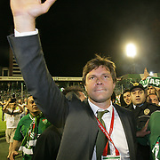 Turkish soccer team Bursaspor head coach Ertugrul SAGLAM (L) happy tears of joy to celebrate the championship during their Turkish soccer super league match Bursaspor between Besiktas at Ataturk Stadium in Bursa Turkey on Sunday, 16 May 2010. Photo by TURKPIX