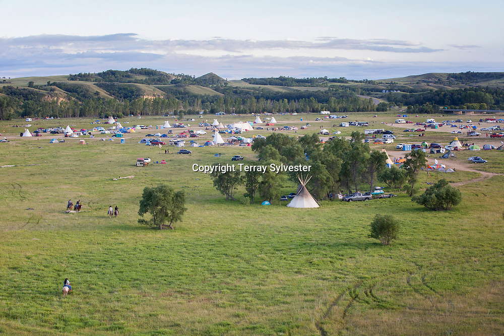 Riders approach the resistance camp against the Dakota Access oil pipeline on August 26, 2016. Cannon Ball, North Dakota, United States.