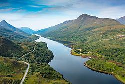 Aerial view from drone of Loch Leven from Kinlochleven  in Lochaber, Highland Region, Scotland, UK