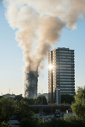 © Licensed to London News Pictures. 14/06/2017. London, UK. Photo credit: A major fire has engulfed the 27-storey Grenfell Tower block in Latimer Road, White City. The blaze started early Wednesday morning and has spread through most of the building. Ray Tang/LNP