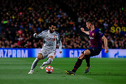May 1, 2019 - Barcelona, BARCELONA, Spain - 11 Mohamed Salah of Liverpool FC defended by 15 Lenglet of FC Barcelona during the UEFA Champions League first leg match of Semi final between FC Barcelona and Liverpool FC in Camp Nou Stadium in Barcelona 01 of May of 2019, Spain. (Credit Image: © AFP7 via ZUMA Wire)