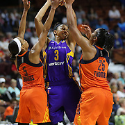 UNCASVILLE, CONNECTICUT- MAY 26:  Candace Parker #3 of the Los Angeles Sparks is defended by Jasmine Thomas #5, (left) and Alyssa Thomas #25 of the Connecticut Sun during the Los Angeles Sparks Vs Connecticut Sun, WNBA regular season game at Mohegan Sun Arena on May 26, 2016 in Uncasville, Connecticut. (Photo by Tim Clayton/Corbis via Getty Images)