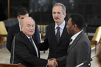 20120317: BRASILIA, BRAZIL – FIFA President Joseph Blatter, visit to Brazil to discuss 2014 World Cup. In picture Sepp Blatter with Sports Minister Aldo Rebelo and football legends Ronaldo Nazario and Pele meeting with President Dilma Rousseff at Planalto Palace<br />