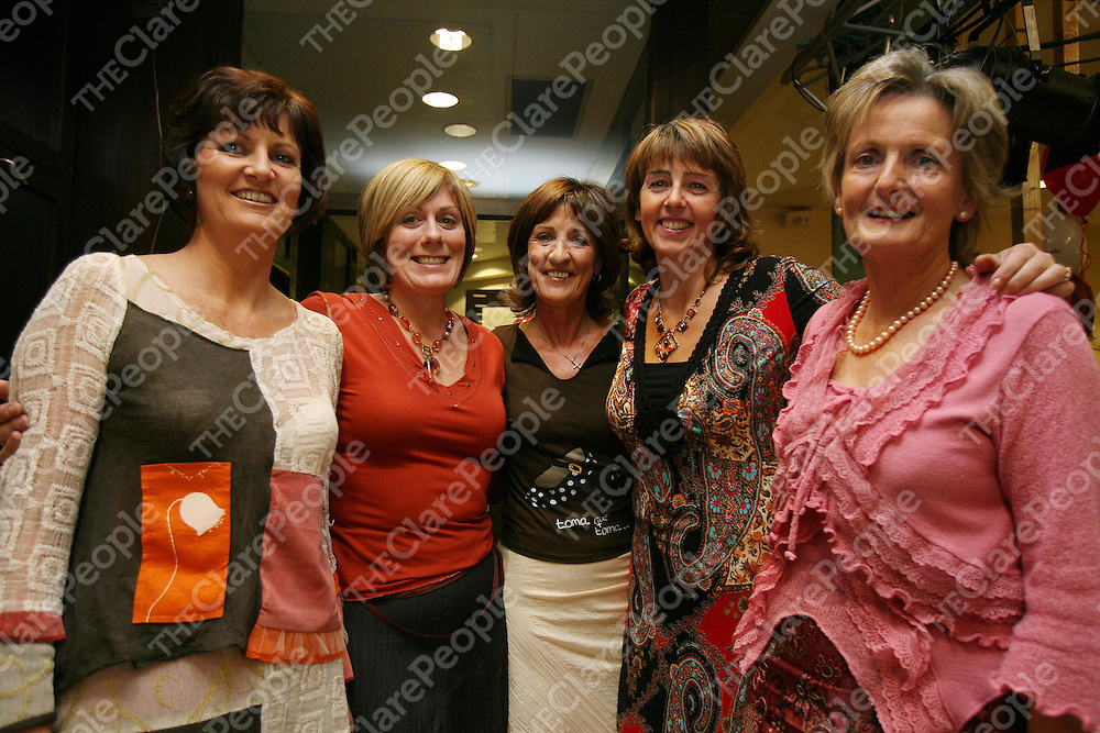 Organising Committee Siobhain Costelloe,Chair Rose Hally,Secretary ,Marie Coote ,Nollie McCarthy and Jean Moloney  at the Clare People Fashion Show at Glor in Aid of the Special Olympics.<br /><br />Photograph by Eamon Ward