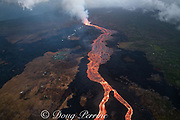 Aerial view of Kilauea Volcano east rift zone erupting hot lava from Fissure 8 in Leilani Estates subdivision near the town of Pahoa. The lava drains downhill as an incandescent river to Kapoho, Puna District, Hawaii Island ( the Big Island ), Hawaiian Islands, U.S.A.; green complex on left is Puna Geothermal Ventures power plant.