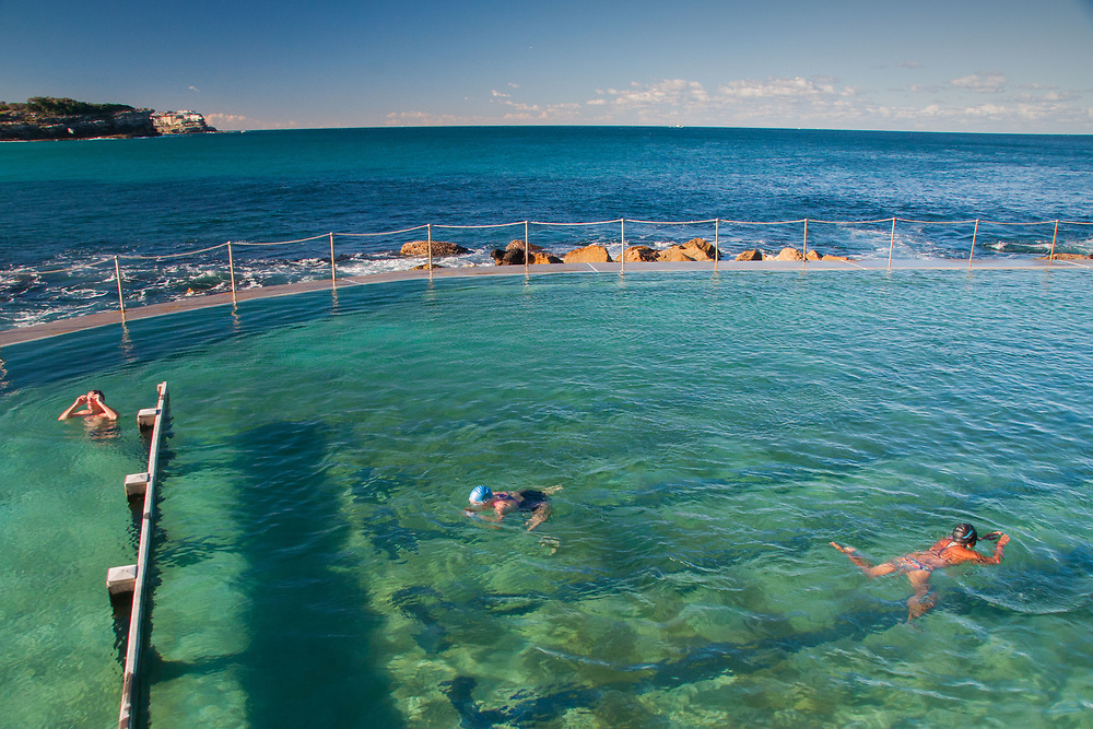 Swimmers at Bronte Pool, Bronte Beach, Sydney, New South Wales, Australia