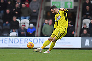 Grimsby Town goalkeeper Sam Russell(23) kicks forward during the EFL Sky Bet League 2 match between Grimsby Town FC and Milton Keynes Dons at Blundell Park, Grimsby, United Kingdom on 26 January 2019.