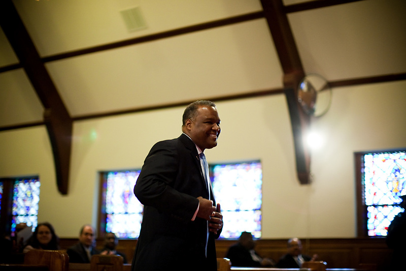 CHEVERLY, MD - DECEMBER 6: Prince George's County Executive-Elect Rushern Baker III walks toward the podium during an interfaith service at Cheverly United Methodist Church on his inauguration day on December 6, 2010 in Cheverly, Maryland. (Photo by Michael Starghill, Jr.)