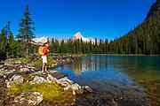 Hiker at Lake O'hara, Yoho National Park, British Columbia, Canada