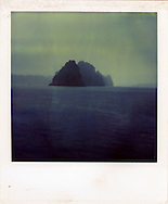 Old Polaroid of Karstic rock formations in Halong Bay, Quang Ninh Province, Vietnam, Southeast Asia