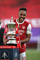 Football - 2020 Emirates 'Heads Up' FA Cup Final - Arsenal vs. Chelsea <br /> <br /> Arsenal captain Pierre-Emerick Aubameyang celebrates victory with the trophy, at Wembley Stadium.<br /> <br /> The match is being played behind closed doors because of the current COVID-19 Coronavirus pandemic, and government social distancing/lockdown restrictions.