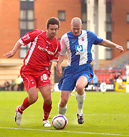 Photo: Ed Godden/Sportsbeat Images.<br /> Leyton Orient v Hartlepool United. Coca Cola League 1. 22/09/2007. Orient's Adam Boyd (L), holds off the challenge from Michael Nelson.