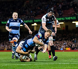 Gareth Anscombe of Cardiff Blues scores his sides first try<br /> <br /> Photographer Simon King/Replay Images<br /> <br /> Guinness PRO14 Round 21 - Cardiff Blues v Ospreys - Saturday 27th April 2019 - Principality Stadium - Cardiff<br /> <br /> World Copyright © Replay Images . All rights reserved. info@replayimages.co.uk - http://replayimages.co.uk