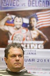 Davorin Lampe at press conference of boxers IBF World Champion Dejan Zavec - Jan Zaveck (SLO) and Paul Delgado (USA) before their WTC IBF Match, on February 14, 2011 in Ljubljana, Slovenia. (Photo By Vid Ponikvar / Sportida.com)