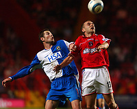 Photo. Daniel Hambury.<br />The Barclays Premiership.<br />Charlton Athletic V Blackburn Rovers. 27/09/2004.<br />Charlton Athletic's Danny Murphy and Blackburn Rovers' Brett Emerton