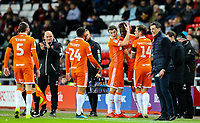 Blackpool's Armand Gnanduillet celebrates scoring the opening goal with teammates<br /> <br /> Photographer Alex Dodd/CameraSport<br /> <br /> The EFL Sky Bet League One - Sunderland v Blackpool - Tuesday 12th February 2019 - Stadium of Light - Sunderland<br /> <br /> World Copyright © 2019 CameraSport. All rights reserved. 43 Linden Ave. Countesthorpe. Leicester. England. LE8 5PG - Tel: +44 (0) 116 277 4147 - admin@camerasport.com - www.camerasport.com