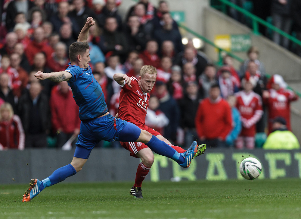 Scottish League Cup Final Aberdeen V Inverness CT at Parkhead on Sunday, 16th of March 2014, Aberdeen Scotland.<br /> Pictured: Josh Meekings and Nicky Low<br /> (Photo Ross Johnston/Newsline Scotland)