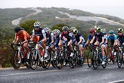 Sara Poidevin (CAN), Anna Plichta (POL) and Tiffany Cromwell (AUS) lead the bunch up the Bells Beach climb at the 2020 Cadel Evans Great Ocean Road Race - Deakin University Women's Race, a 121 km road race in Geelong, Australia on February 1, 2020. Photo by Sean Robinson/velofocus.com
