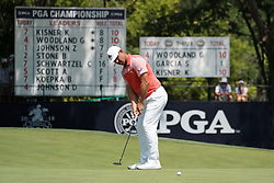 August 10, 2018 - St. Louis, Missouri, United States - Gary Woodland putts the 9th green during the second round of the 100th PGA Championship at Bellerive Country Club. (Credit Image: © Debby Wong via ZUMA Wire)