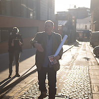Bill Drummond explains how a musical piece of 100 ordinary people will work in Liverpool, UK. 27th April, 2013.