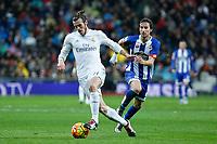Real Madrid´s Gareth Bale and Deportivo de la Coruna´s Navarro during 2015/16 La Liga match between Real Madrid and Deportivo de la Coruna at Santiago Bernabeu stadium in Madrid, Spain. January 09, 2015. (ALTERPHOTOS/Victor Blanco)