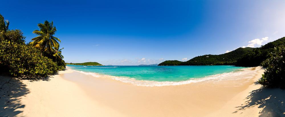 Hawksnest Bay on St. John in the US Virgin Islands. High resolution panorama.