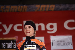 Race winner, Jip van den Bos (NED) on the podium at Le Samyn des Dames 2019, a 101 km road race from Quaregnon to Dour, Belgium on March 5, 2019. Photo by Sean Robinson/velofocus.com