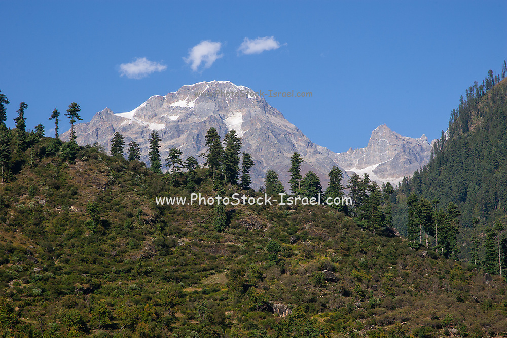 Himalayan Mountains landscape at Manali, Himachal Pradesh, India Daytime with a blue sky