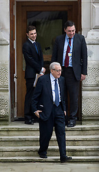"""© Licensed to London News Pictures. 06/03/2013. Westminster, UK. Special Envoy for Syria, Lakhdar Brahimi (centre), leaves the UK Foreign Office, this afternoon 6th March 2013. William Hague, The Foreign Secretary today announced the UK will supply """"non-lethal"""" protective equipment to Syria's opposition, including armoured vehicles and body armour. Photo credit :Ben Cawthra/LNP"""