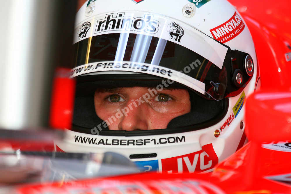 Christijan Albers (Midland-Toyota) with a new football / socces inspired helmet during practice for the 2006 Canadian Grand Prix at the Circuit Gilles Villeneuve in Montreal. Photo: Grand Prix Photo