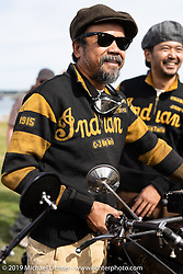 Shinya Kimura made his fifth attempt to cross the entire country riding his 1915 Indian on the Motorcycle Cannonball coast to coast vintage run. Portland, ME. Friday September 7, 2018. Photography ©2018 Michael Lichter.