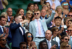 Diver Jack Laugher in the royal box on centre court on day six of the Wimbledon Championships at the All England Lawn Tennis and Croquet Club, Wimbledon.