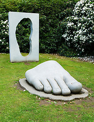Modern art sculpture in grounds of The House for an Art Lover designed by Charles Rennie Mackintosh in Glasgow Scotland