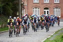 Audrey Cordon-Ragot (FRA) surrounded by teammates crossing the cobbles at Le Samyn des Dames 2019, a 101 km road race from Quaregnon to Dour, Belgium on March 5, 2019. Photo by Sean Robinson/velofocus.com