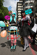 Protesters dressed as circus performers as tens of thousands of people protest in the March for Europe against Brexit demonstration following a 'Leave' result in the EU Referendum on July 2nd 2016 in London, United Kingdom. The march in the capital brings together protesters from all over the country, angry at the lies and misinformation that the Leave Campaign fed to the British people during the EU referendum. Since the vote was announced, there have been demonstrations, protests and endless political comment in all forms of media. Half of the country very displeased with the result and the prospect of being taken out of the European Union against their will, and with uncertainty as to what will happen next in the politics surrounding the exit from Europe.