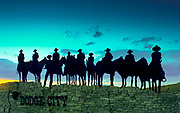 Kansas / Dodge City / Silhouetted Ghost Riders Welcoming Sign / Metal Art Work