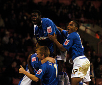 Photo: Jed Wee.<br /> Sheffield United v Birmingham City. Carling Cup. 24/10/2006.<br /> <br /> Birmingham celebrate, Neil Danns (R) and Fabrice Muamba.