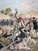 Revolt of Anarchist prisoners on prison Island of Salut, Cayenne, French Guyana, South America:  A Protest against brutal conditions, it was mercilessly put down, October 1894. From 'Le Petit Journal', Paris, 16 December 1894.