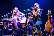 """SILVER SPRING, MD - February 6th, 2014 - Madison Marlow and Taylor Dye, known as the country duo Maddie and Tae, perform at WMZQ's Stars and Guitars concert at the Fillmore Silver Spring in Silver Spring, MD. The duo's stereotype-defying song """"Girl in a Country Song"""" reached #1 on the Billboard Country Airplay chart after a 23 week climb. (Photo by Kyle Gustafson / For The Washington Post)"""