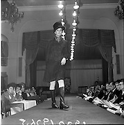 13/11/1967<br /> 11/13/1967<br /> 13 November 1967<br /> Irish Leather Federation, Leather Fashions at the Gresham Hotel, Dublin.<br /> Dark brown semi fitted Suede coat by Julian Vard.