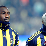 Fenerbahce's Mamadou NIANG (L) and Issiar DIA (R) during their Turkish superleague soccer derby match Fenerbahce between Trabzonspor at the Sukru Saracaoglu stadium in Istanbul Turkey on Sunday 30 January 2011. Photo by TURKPIX