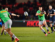 Harlequins Marcus Smith passes to Francis Saili during a Gallagher Premiership match won by Sale Sharks 27-17 at the AJ Bell Stadium, Eccles, Greater Manchester, United Kingdom, Friday, April 5, 2019. (Steve Flynn/Image of Sport)