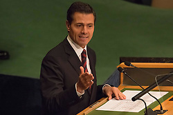 September 20, 2016 - New York, NY, United States - Mexican President Enrique Pena Nieto delivers his remarks on the first day of the UN General Assembly's General Debate, IN General Assembly Hall at UN Headquarters in New York. (Credit Image: © Albin Lohr-Jones/Pacific Press via ZUMA Wire)