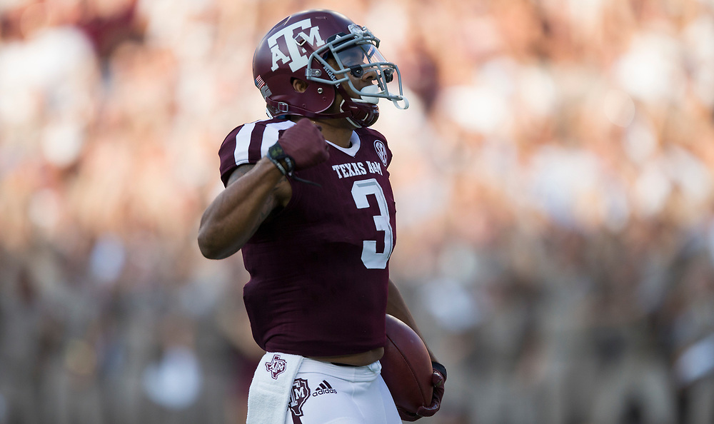Texas A&M wide receiver Christian Kirk (3) celebrates a touchdown during the first quarter of an NCAA college football game against Nicholls State Saturday, Sept. 9, 2017, in College Station, Texas. (AP Photo/Sam Craft)