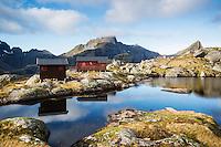 Munkebu mountain hut with Hermannsdalstinen peak in distance, Moskenesøya, Lofoten Islands, Norway