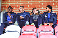 AFC Wimbledon Defender Deji Oshilaja (4), AFC Wimbledon Defender Rod McDonald (26), <br /> AFC Wimbledon Midfielder Scott Wagstaff (7) and AFC Wimbledon Forward Andy Barcham (17) ahead of the EFL Sky Bet League 1 match between AFC Wimbledon and Wycombe Wanderers at the Cherry Red Records Stadium, Kingston, England on 27 April 2019.