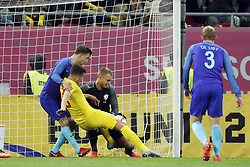 (l-r) Joel Veltman of Holland,George Tucudean of Romania, goalkeeper Jasper Cillessen of Holland during the friendly match between Romania and The Netherlands on November 14, 2017 at Arena National in Bucharest, Romania