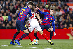 January 30, 2019 - Barcelona, Spain - FC Barcelona defender Gerard Pique (3), Sevilla FC forward Andre Silva (12) and FC Barcelona midfielder Arthur (8) during the match FC Barcelona v Sevilla CF, for the round of 8, second leg of the Copa del Rey played at Camp Nou  on 30th January 2019 in Barcelona, Spain. (Credit Image: © Mikel Trigueros/NurPhoto via ZUMA Press)