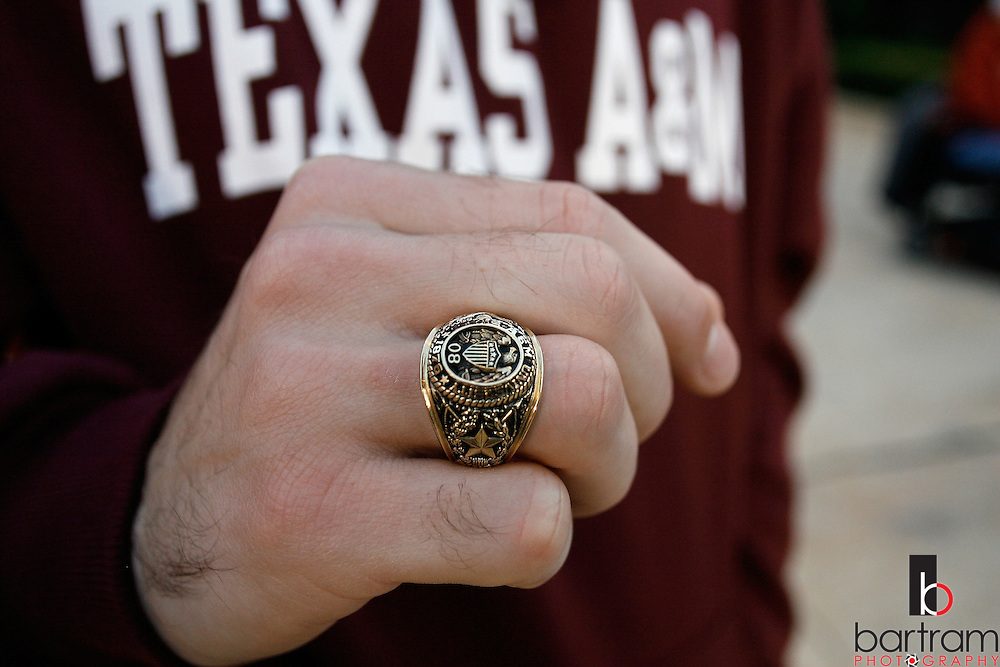 Texas A&M University student John Esley of San Antonio, Texas shows off his new Class of 2008 ring on Nov. 3, 2007. Getting a class ring is a milestone for juniors at the university.